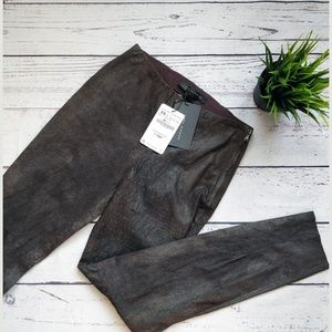 NWT ZARA Brown Slim Sheep Leather Pants XS